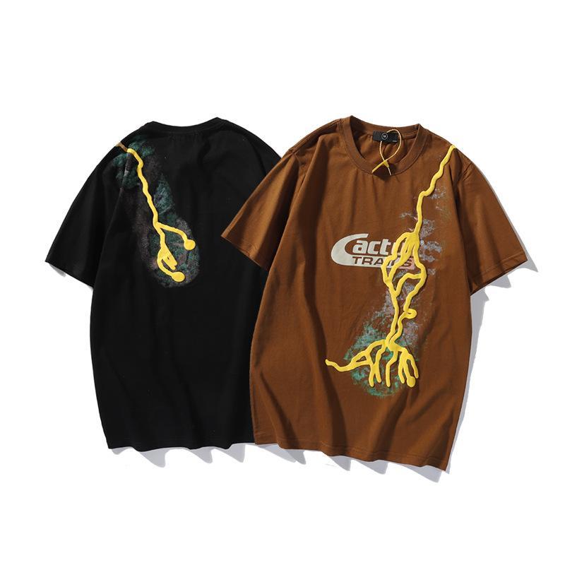 Maré Marca Travis Scott Cactus Jack T Shirt Imprimir Impressão Espuma Manga Curta Manga Masculina e Mulheres Casuais Casal Parts Tops