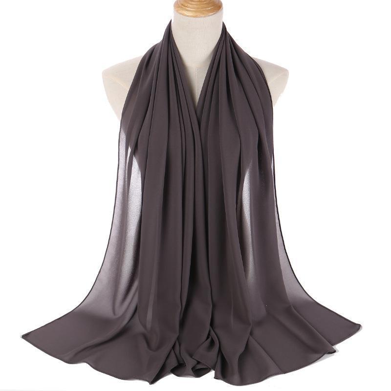 Verkauf von monochromen Perlenchiffon Blase Schal Kopftuch Damenabdeckung Seide Hijab Abaya Ethnische Kleidung