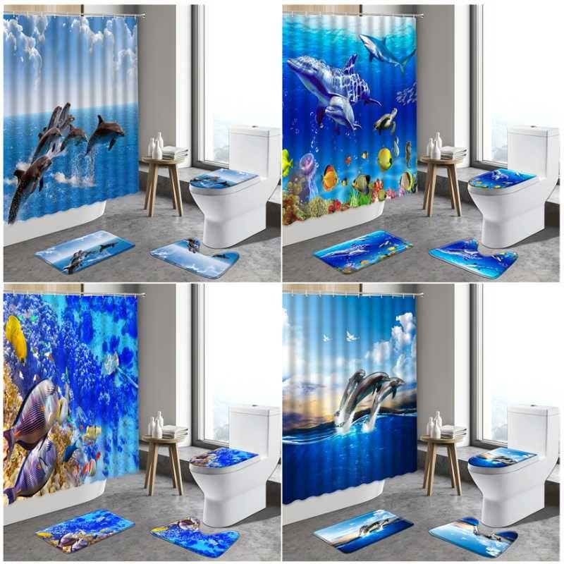 Duschvorhänge 3D Ocean Design Delfine Badezimmer Wasserdichte Vorhang Unterwasserwelt Rutschfeste Teppiche WC-Deckel Deckel Badematten