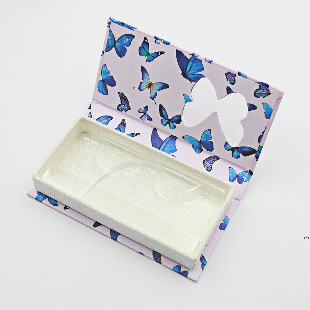 فراشة نافذة رمش كاذبة مربع طويل فارغة المنك جلدة الحالات مع صينية مطبوعة الوردي التعبئة والتغليف DWF5954