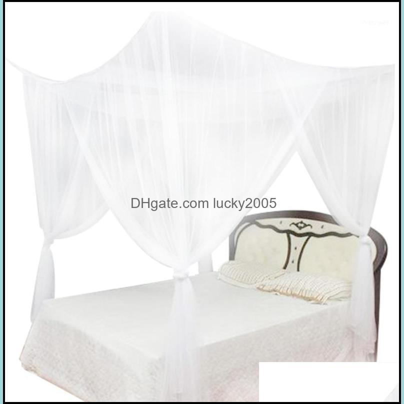 Supplies Textiles & Garden4 Corner Post Bed Canopy Mosquito Net Netting Curtain Dustproof Home Bedding Fl Size Bedding1 Drop Delivery 2021 Z
