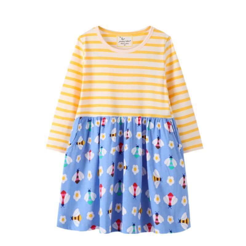 Vestidos de menina saltando metros meninas princesa floral para outono mola crianças vestido de manga comprida bebê algodão listra crianças roupas
