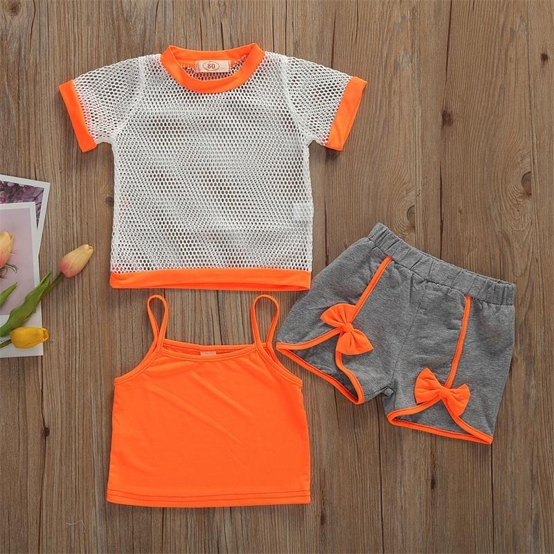 Toddler Baby Girl 1T-6T Vêtements Été Sumre Couleur Solide Sling Gilet Tops T-shirt Net Pantalons courts 3pcs Tenue Vêtements Ensemble d'été 1369 Y2
