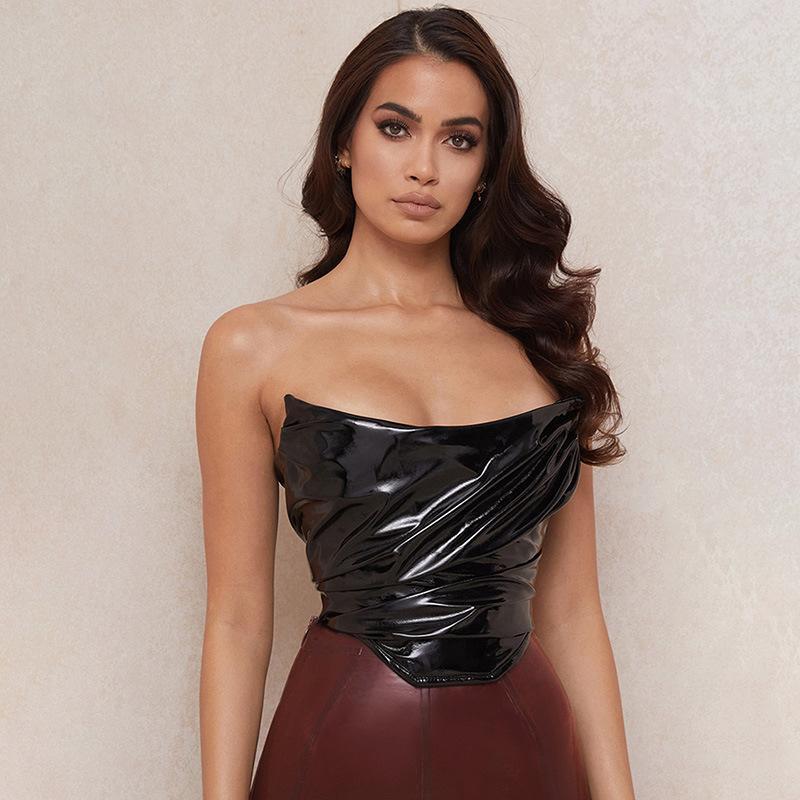Tanks der Frauen Camis Stadtike Schwarze PU-Leder Sexy Top Frauen Sommer Tops Trägerloser Reißverschluss Breast Wrap Tank Streetwear Cropped 2021