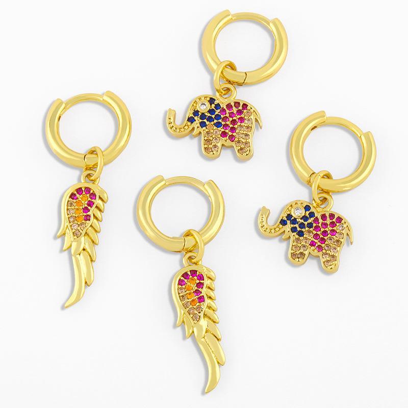 쥬얼리 다이아몬드 코끼리와 함께 디자이너 새로운 간단한 패션 동물 귀 버클 성격 다용식 귀걸이