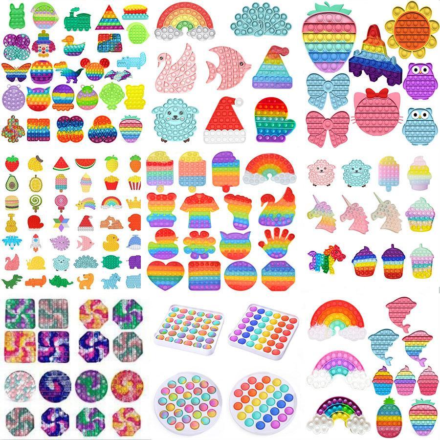 Rainbow Push Fidget Toy Sensory Push Bubble Fidget Autisme Sensory Besoins Spéciales Anxiété Stress Stress Reliever pour les travailleurs de bureau fluorecen