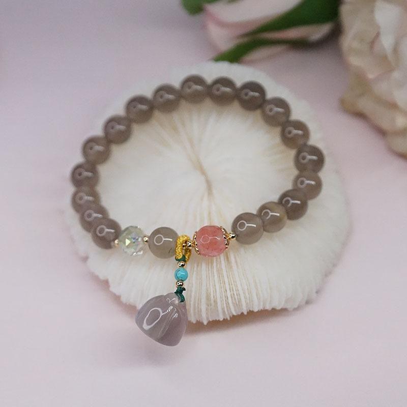 Bangle Grey Agate Bracelet With Lotus Natural Stone Bracelets Women Jewelry