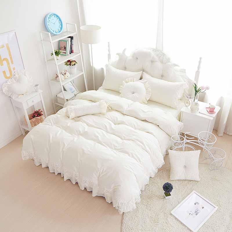 Bedding Sets Black Lace Bedspread Princess Comforter/duvet Cover Queen King 4/8pcs Wedding White Bed Skirts Beddingset 100%cotton Bedclothes