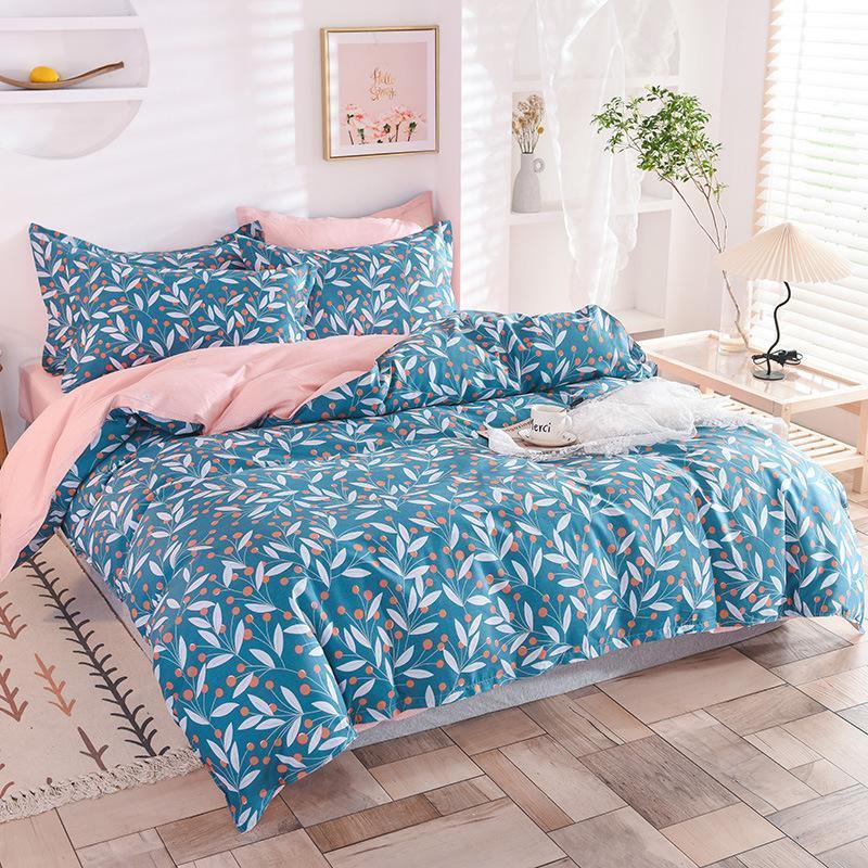 Bettwäsche-Sets Garten Floral Bettbezug-Abdeckung Set 4 stücke Weiche Baumwolle Nette blaue Blume Zweige Blatt mit Reißverschluss Kissenbezüge
