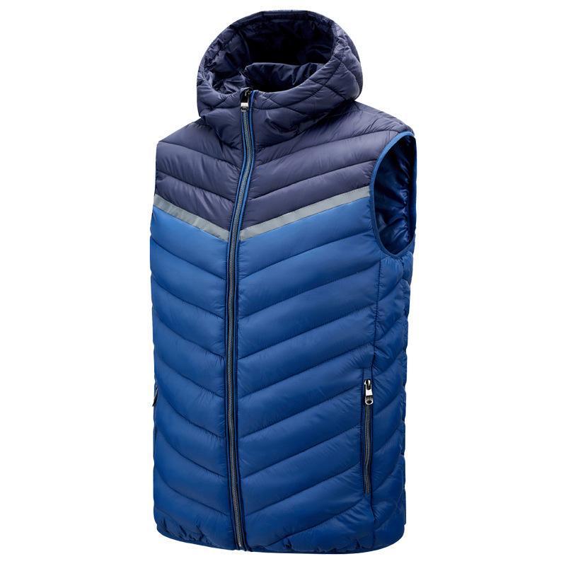 Chaleco de chaleco para hombre Patchwork con capucha de algodón acolchado de algodón sin mangas masculino invierno casual chaleco de chaleco de chaleco 4xl chalecos para hombres