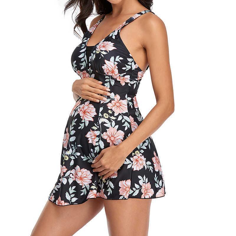 Maternidad de las mujeres Tankini impreso floral embarazada de dos piezas de bañador de playa M-2XL ropa de playa sexy traje de baño traje de baño con traje de baño