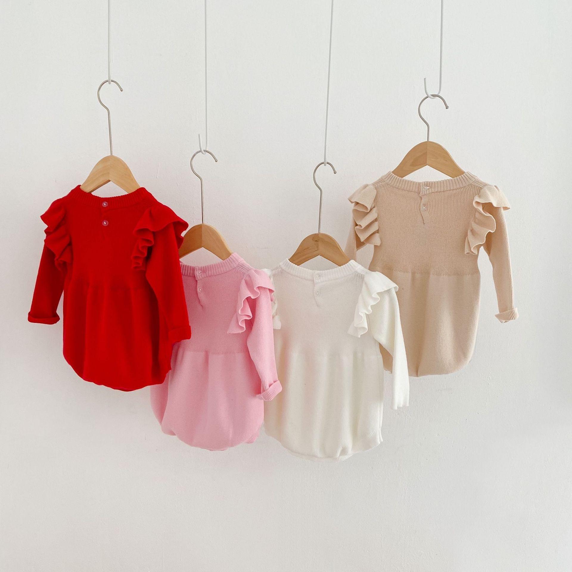 محبوك ملابس الطفل سترة القلب الطفل الفتيات رومبير ربيع 2021 الوليد الطفل بذلة طويلة الأكمام للفتيات playsuit القطن