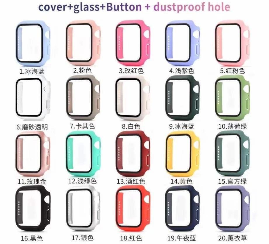 360 Full Cover PC Case 3D Temperiertes Glas Anti-Scratch-Film-Bildschirmschutz für Apple Watch-Serie SE 6 5 4 44mm 40mm iWatch 3 2 1 42mm 38mm