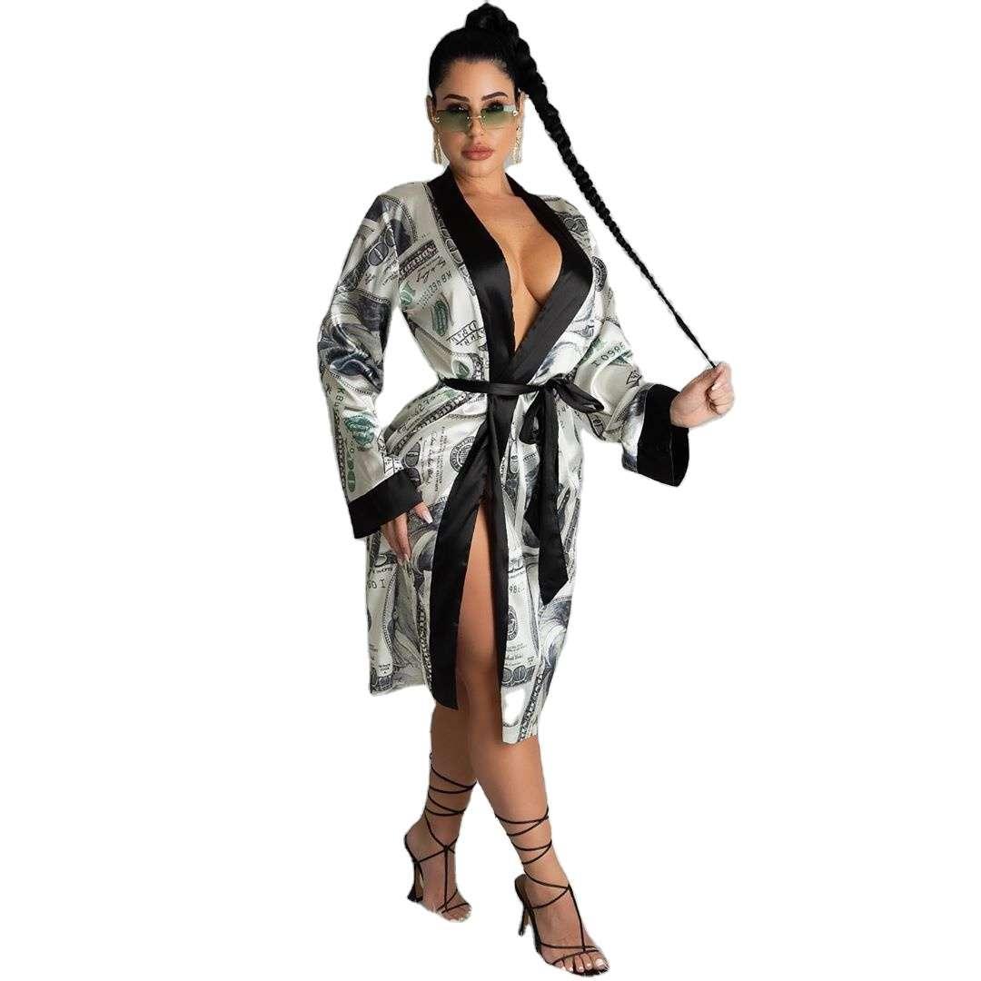 21s S390012 Dinero vestido de impresión Ropa de mujer