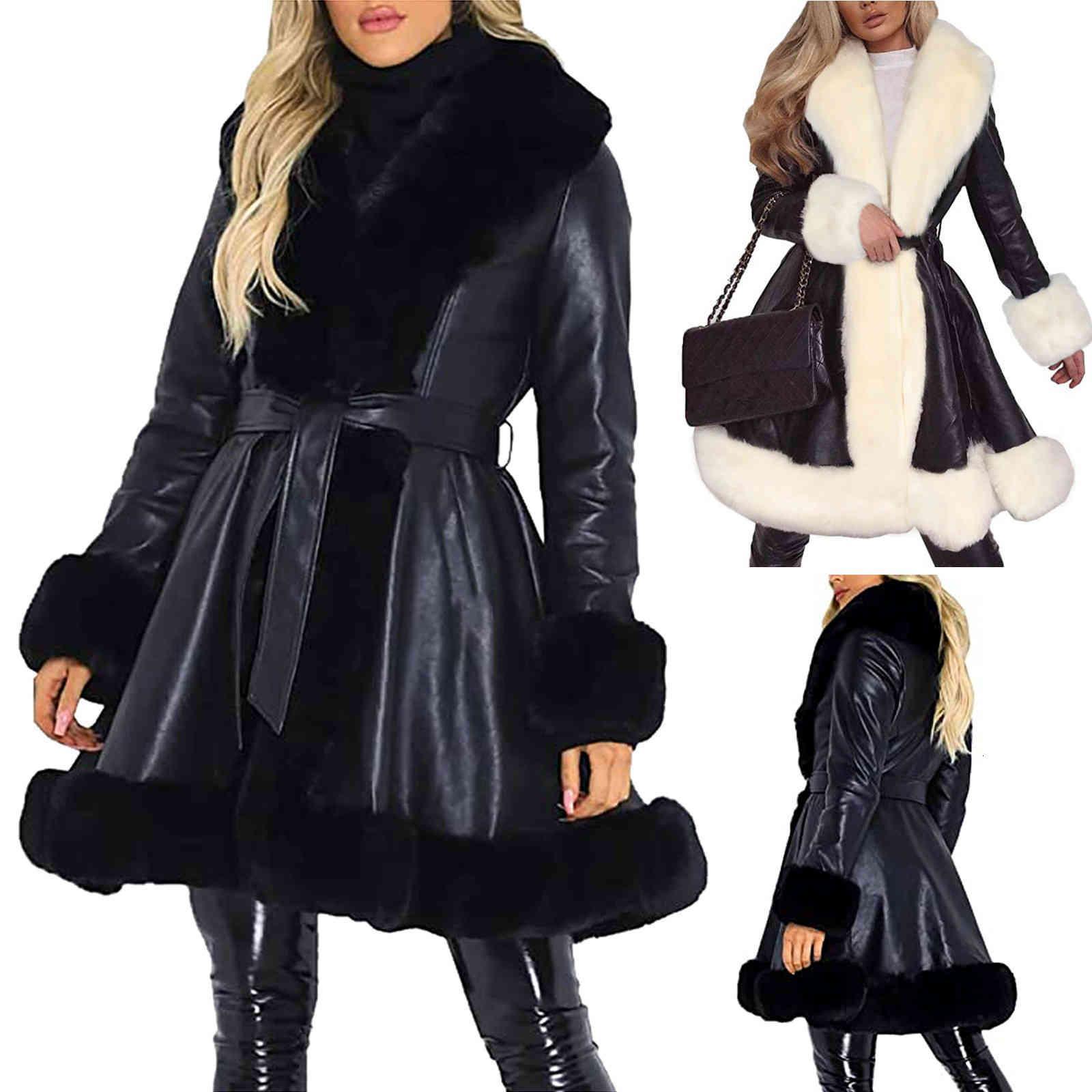 Cappotto lungo in ecopelle da donna Outwear Women Winter Women Cappotti Addensare Giacca imbottita in cotone Vestidos