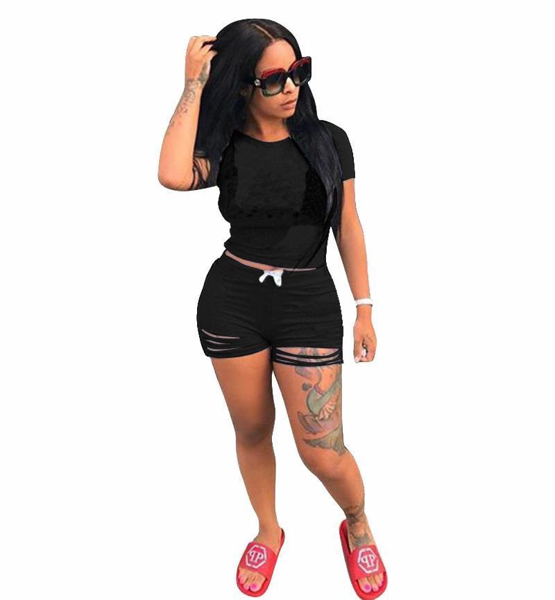 Kadın Tulumlar Tulum Kadınlar Için Kısa Setleri Yaz 2021 Kollu Gömlek Ve Set 2 Parça Rahat Siyah Sarı Mavi Pembe Kıyafetler İki