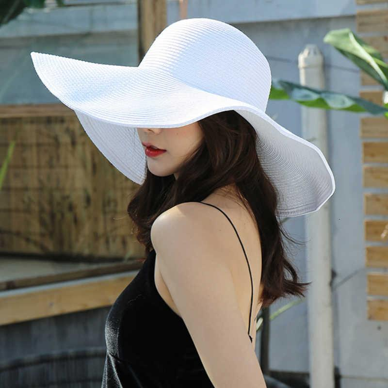 Solid HT3062 Moda Brim grande grande amplo liso solfado sol pacote de verão para mulheres senhora chapéu de palha boné de praia