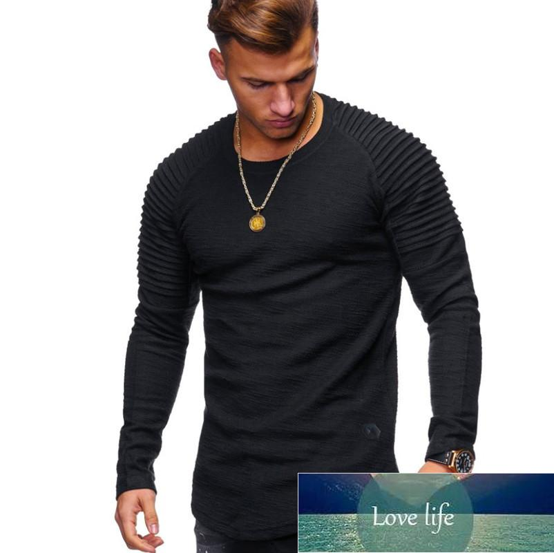 Solid Color Sleeve Pleated Patch Detail Long Sleeve T-Shirt Men Spring Casual Tops Pullovers Fashion Slim Basic Tops
