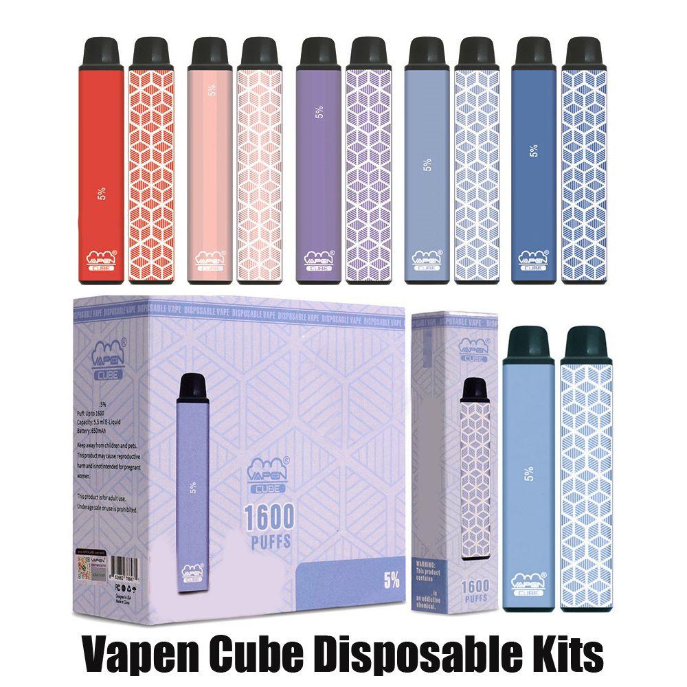 Authentic Vapen Cube Dispositivo monouso Kit Kit E-sigaretta 1600 Pulves 650mAh Batteria 5.5ml Cartridge Preriellato POD POD PEN VS Bar Plus XXL Kit 100% originale