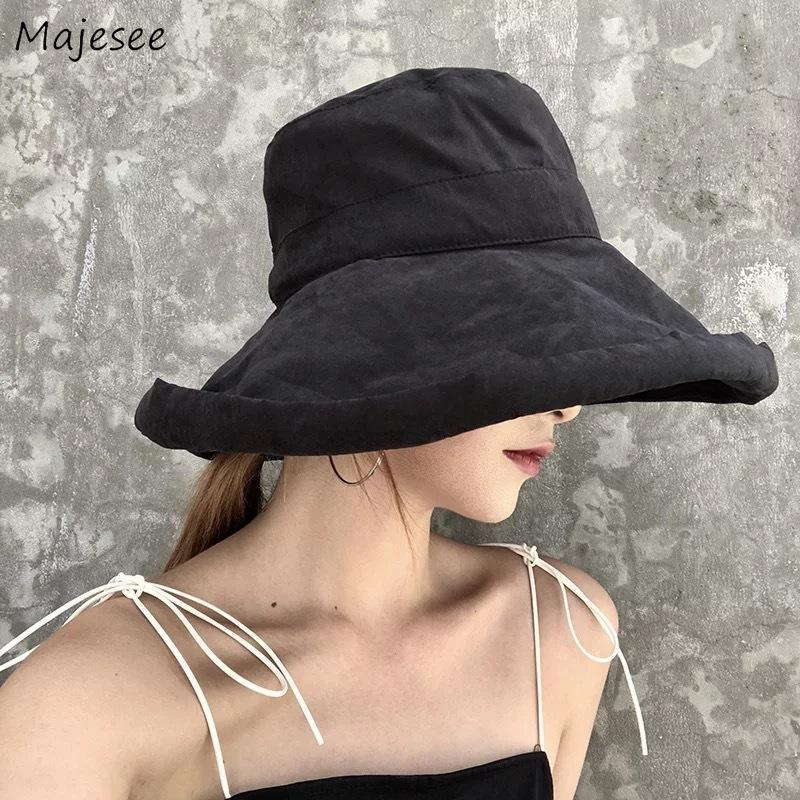Ведровые шляпы Женщины Летние Солнцезащитная Защита Большой Брамовый Сплошной Элегантный Сладкий Сладкий Шляпа Сладкий Матч Стиль Womens All-Math Corean Style Harajuku Шилл Широкий