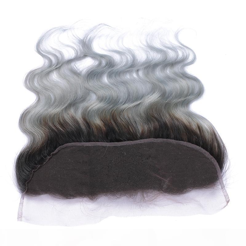 1b Cinza Ombre Brasileiro Virgem Humano Cabelo Humano Onda 13x4 Laço Completo Peças frontais com cabelo de bebê Prata Cinza Ombre Lace Frontal Fechamento