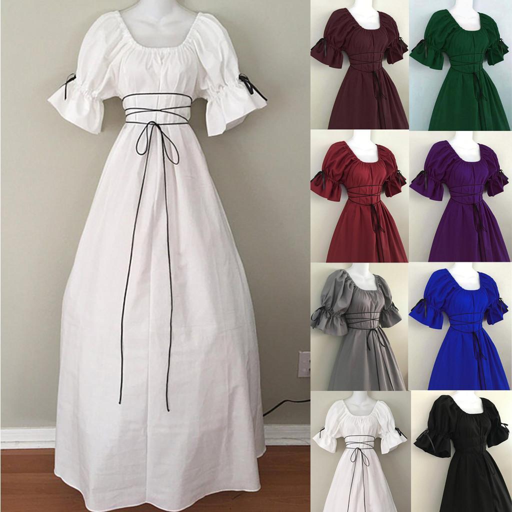 Vestido Mujeres Gobernas Góticas Renacimiento Victorian Chemise Medieval Retro Campesino Wench Petal Sleeve Resista Top Traje # T2Q