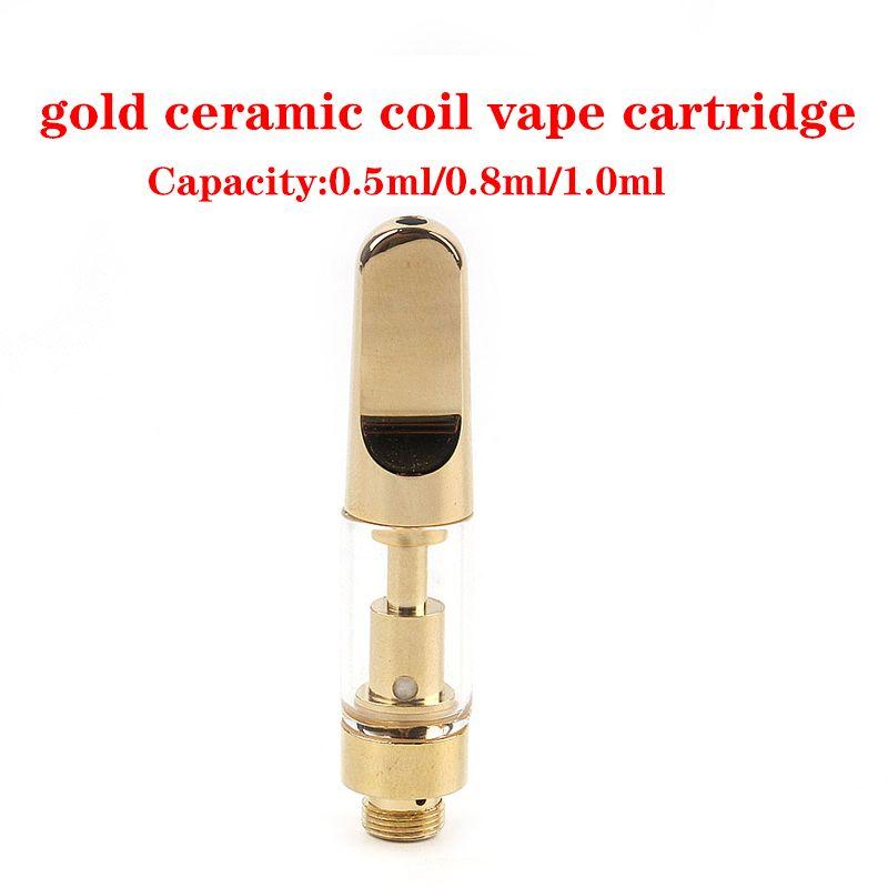 Full gold Ceramic Coil Vape Cartridges Atomizer Empty Vapes Pen 510 Thread Cartridge Th205 1ML 0.8ML E-Cigarettes Vaping Carts Thick Oil Vaporizer Pens