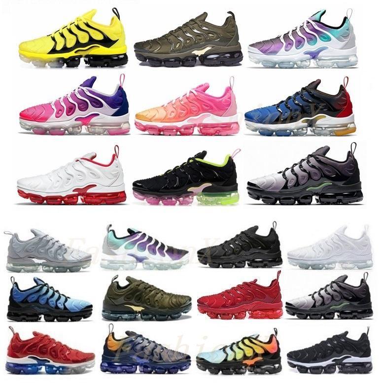 2021 TN Plus 크기 US 13 러닝 신발 실행 2019 남성 Womens MoC Laceless 모든 검은 핑크 퍼플 화이트 레드 블루 그린 트레이너 남성 여성 야외 스포츠 스니커즈 EUR 36-47