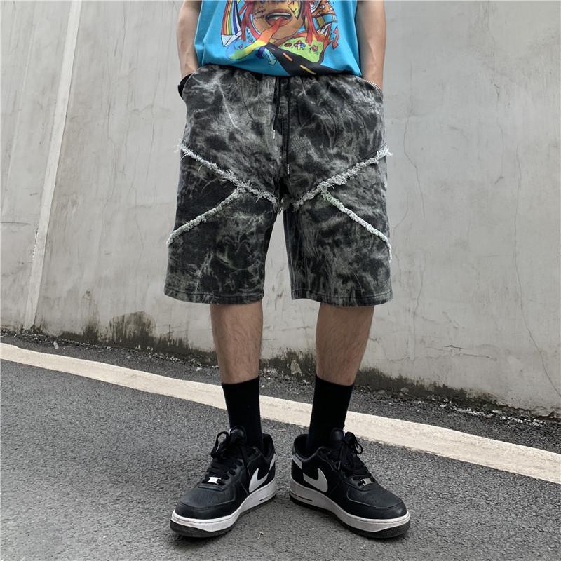 High Street Tie Dye Angustiado Retro Denim Shorts Men and Women Drawstring Oversize Oversize Casual Verano Corta Solte Hip Hop