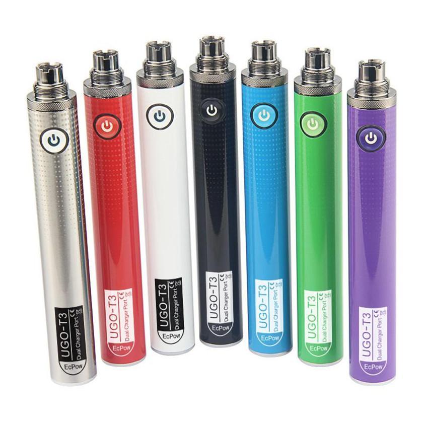 Аутентичные UGO T3 батарея 510 резьба 1300mAh Парная ручка предварительно нагреваемое напряжение с двойным USB зарядки порта Passthrough для толщиной нефтяной картриджей