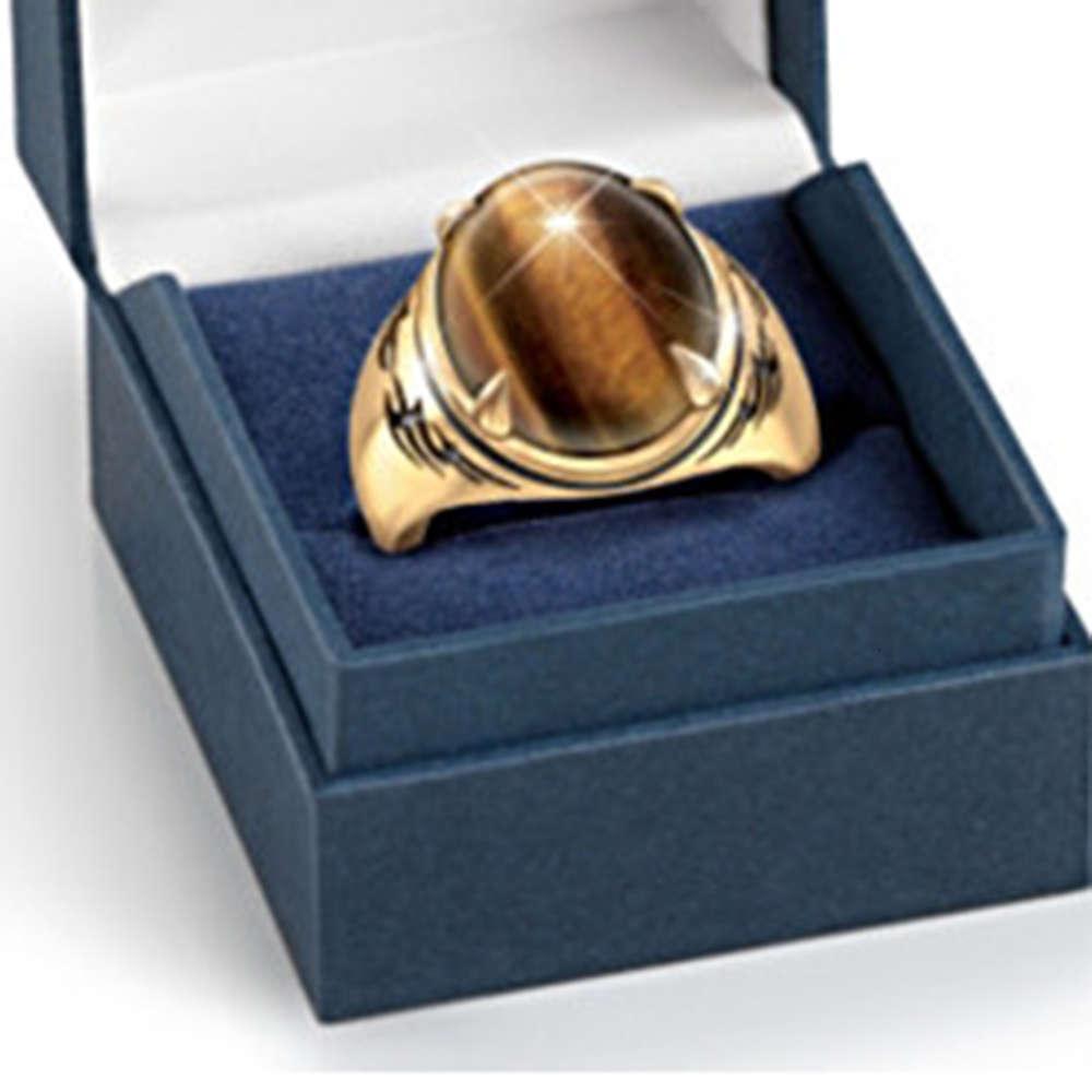 Bohemia Oval Tiger Eye Anel de Noivado Homens de Ouro Metal Marrom Natural Anéis de Casamento De Pedra Para Mulheres Boho Punk Jóias Presente