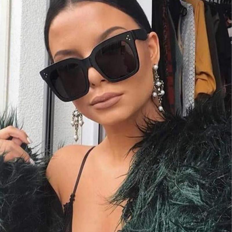 블랙 클리어 대형 사각형 선글라스 여성 그라디언트 여름 스타일 클래식 태양 안경 여성 큰