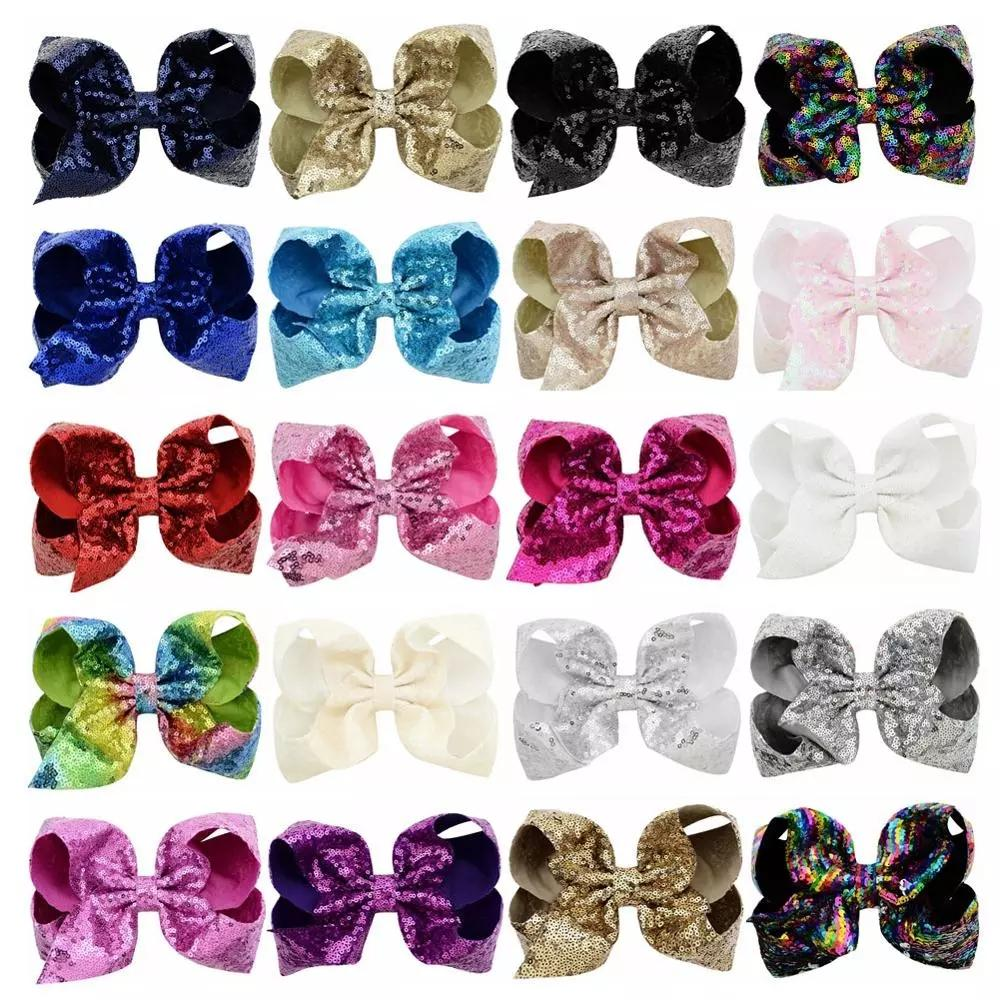 20 colors Large 8inch Girls Embroideried Sequin Bow With Clips Kids Hairpins Bling Barrette Hair Accessories