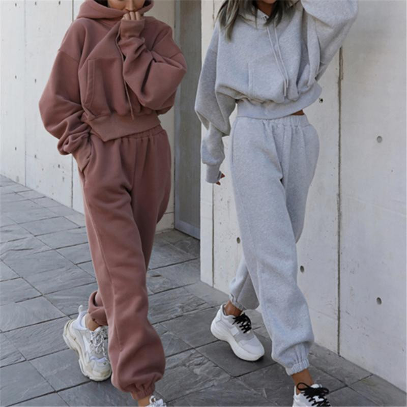 Women's Two Piece Pants Autumn Winter Hooded Sweatshirt Long Suit Tracksuit Women Pieces Set Outfits Sports Hoodies Pullover Sweatpants