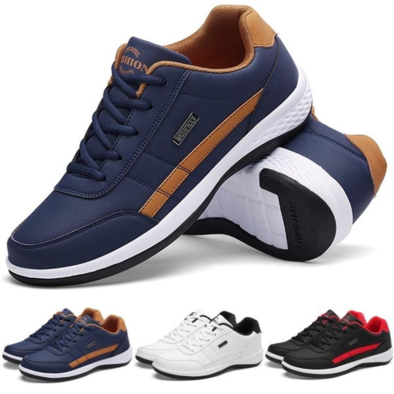 남자 비즈니스 캐주얼 신발 PU 가죽 신발 패션 레이스 캐주얼 스니커즈 남성 야외 걷는 조깅 스포츠 신발