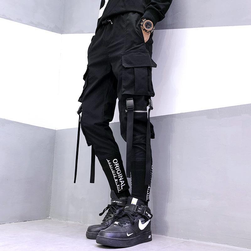 힙합 Mens 조거 바지 바지 블랙 캐주얼 스트리트웨어 스웨트 리본이 달린 봄 패션 하렘 남자 남자