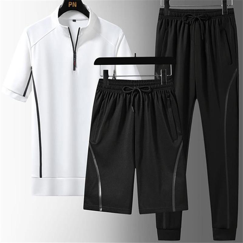Men's Tracksuits Men Sports Suit Summer Casual Fashion 3 PCS Tracksuit Short Sleeve T-shirt Shorts Long Pants