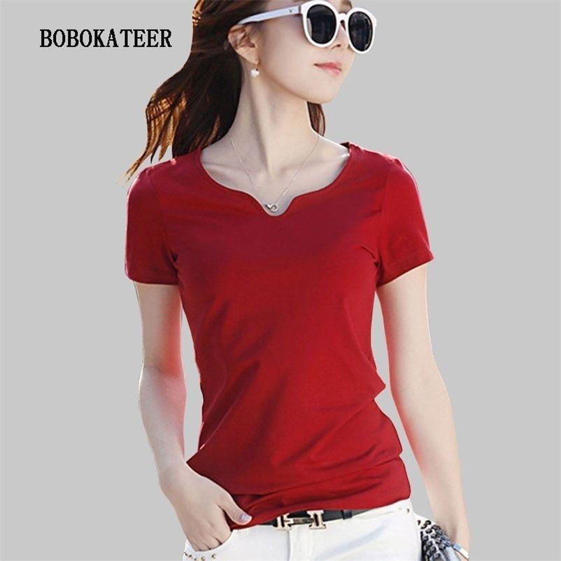Bobokateer verão camiseta mulheres camiseta tshirt femme ropa mujer verano manga curta tops algodão plus tamanho mulheres roupas 210320