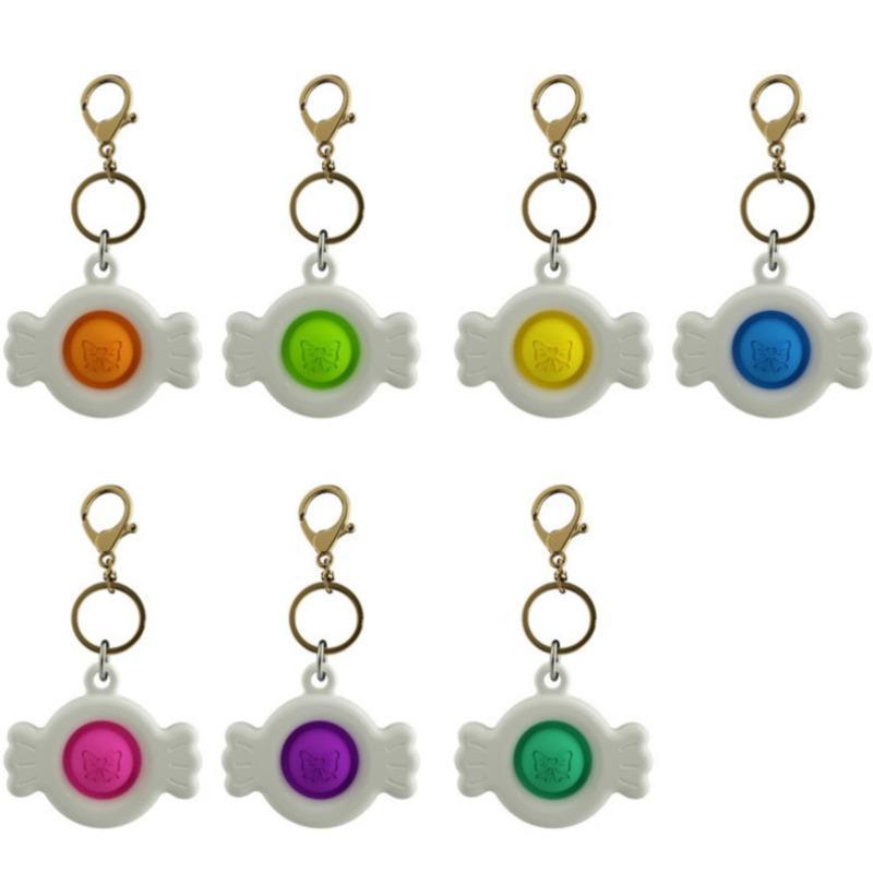 7 ألوان تململ الحسية دفع البوب لعب فنجر فقاعة الموسيقى الضغط الحلوى المفاتيح المعلقات الإجهاد الإجهاد بانث باننت H312V5J