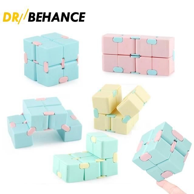 Infinity Cube Candy Color Fidget Puzzle Anti Decompression Toy Finger Hand Spinners Fun Toys For Adult Kids Adhd Stress Relief Gift With Package