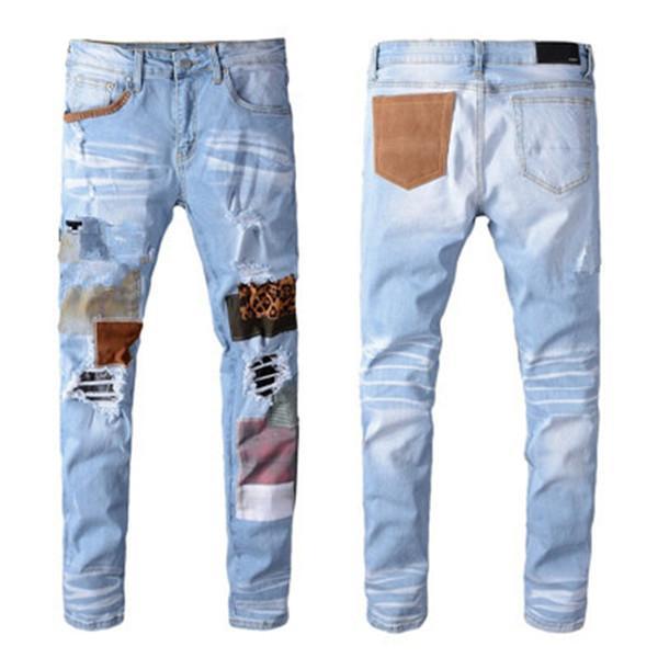 Новые поступления Мужские дизайнерские джинсы Классические прямые джинсы Повседневная Брюки ковбой известная марка молния Tear патч Письмо Горячие продажи США Размер 28-40