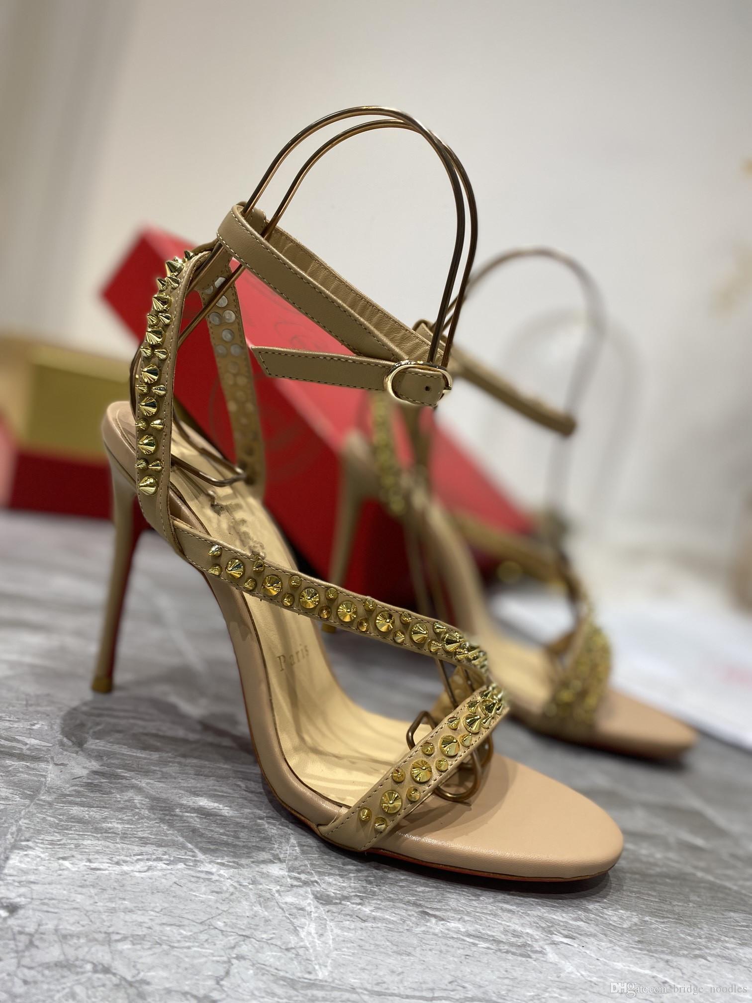 Bayan Ayakkabı Kırmızı Outsole Kadınlar için Yüksek Topuklu Sandal Yüksek Topuk Sandalet Ziyketleri, Düğünler, Profesyonel Eğlence Moda Klasik Renk: Çıplak