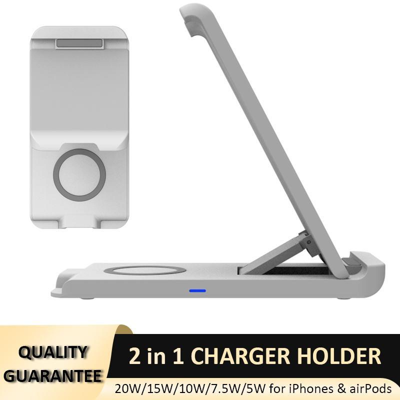 2 in 1 Wireless Charger Stand 20W Fast Charging Phone Holder for iPhone 12 11 XS XR X Airpods Pro
