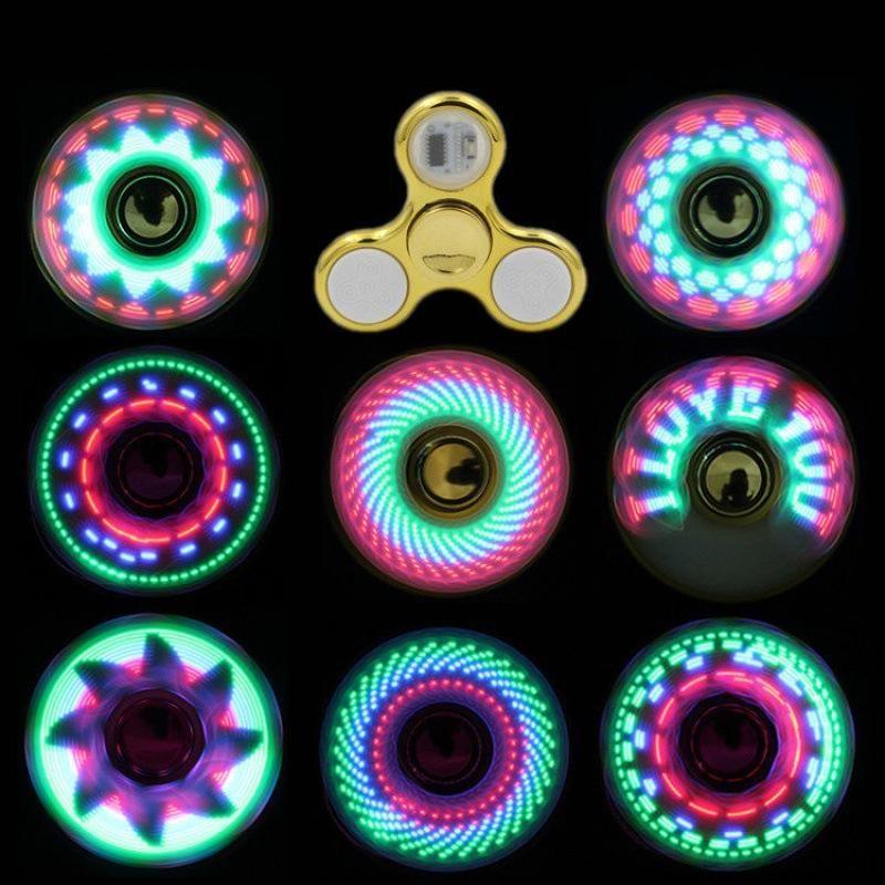 Soğuk İplik Üst SOĞUTUK LED Işık Değişen Fidget Spinners Parmak Oyuncak Çocuk Oyuncakları Otomatik Değişim Desen Gökkuşağı Yukarı El Spinner Ile