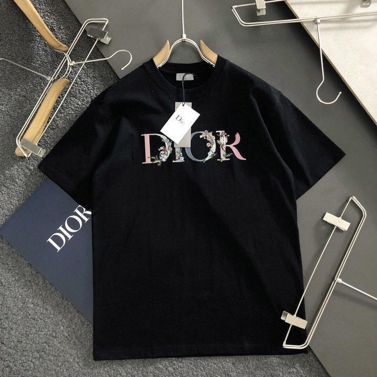 DI Spring Summer New Di Eddadi Color Impreso Bordado Cuello redondo Camiseta para hombres y deportes de mujer Top de manga corta