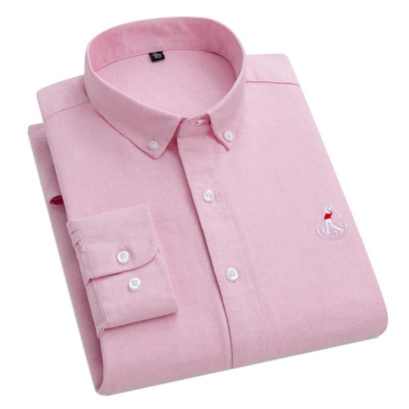브랜드 남성 100 % 코 튼 옥스포드 패브릭 솔리드 컬러 편안한 슬림 비즈니스 캐주얼 긴 소매 셔츠 버튼 칼라 셔츠 남성
