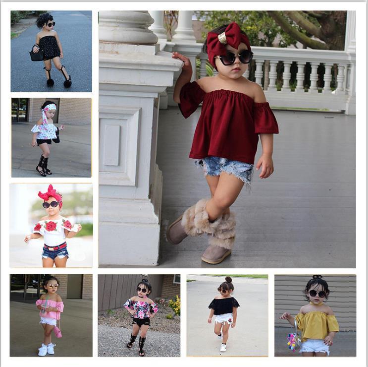 Summer Baby Kids Girls Vestiti 3D Stampa floreale senza maniche Ruffle Round Neck Pullover T-shirt T-shirt Denim Hole Pants Girls Abbigliamento Set