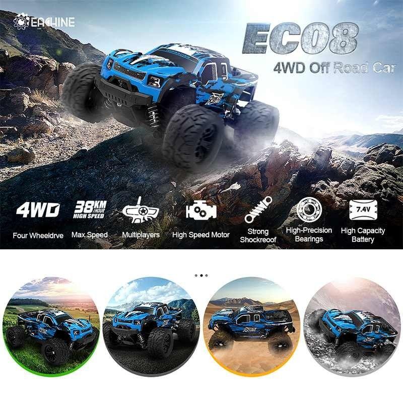 CAMINHO EC08 RC Car 4WD 1/18 2.4GH 38KM / H Super Power Alta Velocidade Caminhões Off-road Trucks com brinquedos diferenciais para crianças 210322