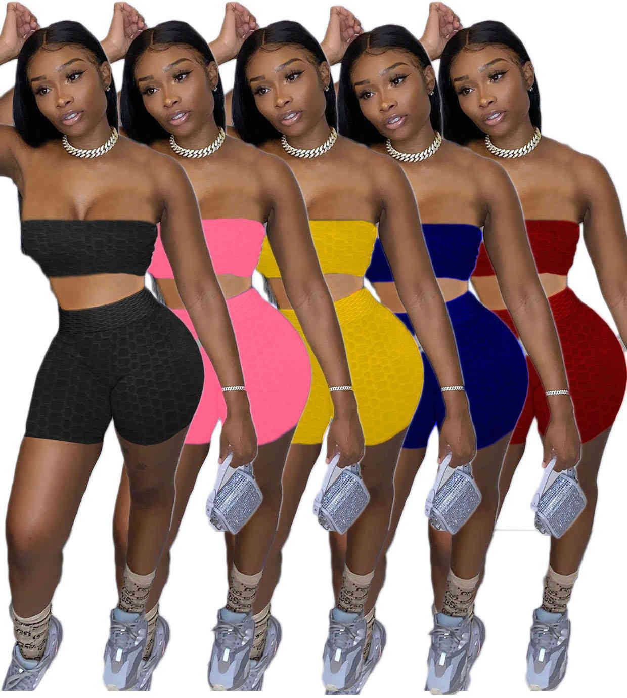 Frauen Mode Designer Kleidung 2021 Frühling und Sommer Solide Farbe Multi Color BH Shorts Yoga Zwei Teil Set die neue Liste