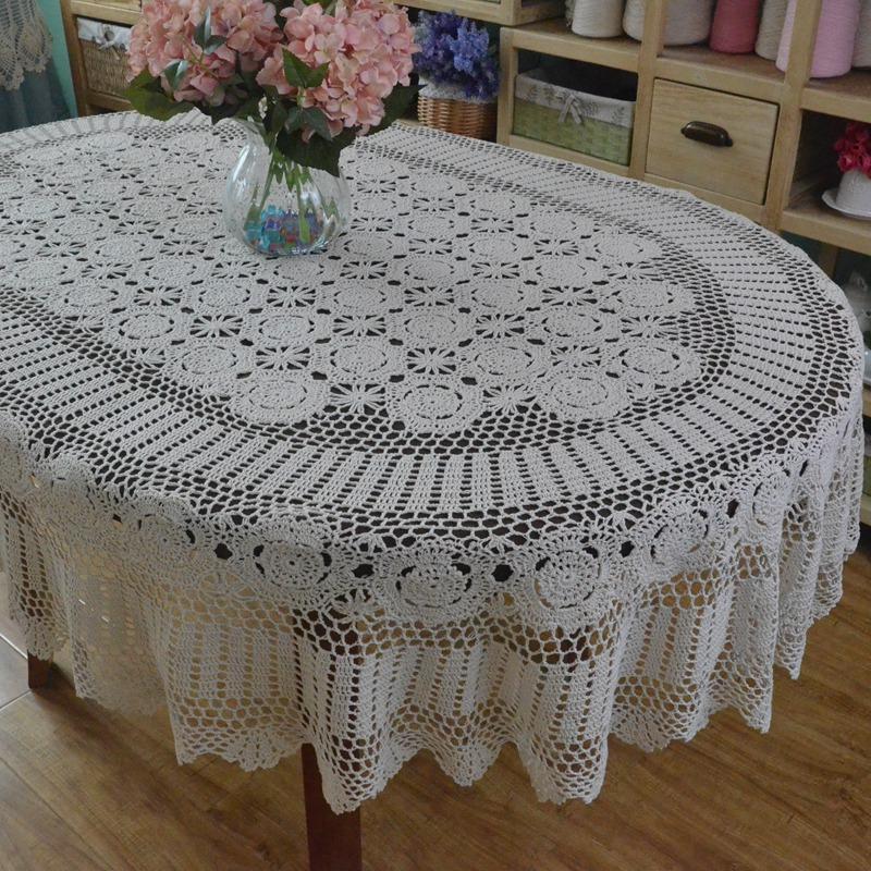 Tablero de tabla de ganchillo hecho a mano Cena ovalada Mantel cubierto de encaje de ganchillo Cubierta extra larga